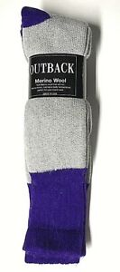Men 2 or 4 Pairs Gray w/Purple Out Door Thermal Merino Wool Boot Sock Size 10-13