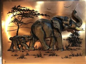 Vintage South African Copperama Copper 3D Relief Art Elephant & Baby 26.5 x 21