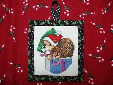 Finished Completed Woodland Christmas Hedge Hog Cross Stitch Ornament