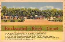 Rockwood Tennessee Brick Court Street View Linen Antique Postcard K20950