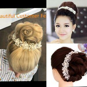 Pearl Crystal Rhinestone Wedding Bridal Prom Hair Clip Headband Tiara Headpiece