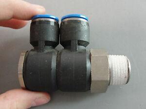 FESTO HYDRAULIC PNEUMATIC ADJUSTABLE PUSH IN L GANG FITTING 12mm TUBE 5/8 THREAD