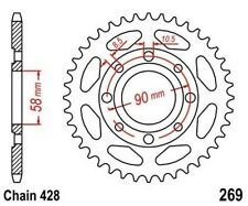 TMP Pignon Sortie Boite Arrière 49 Dents (Chaîne428) DAELIM VS 125 1997-2003