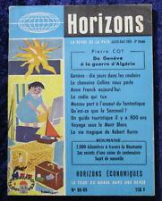HORIZONS - Revue N°98-99 de 1959 - Genève, guerre d'Algérie, R. Burns, Moscou...