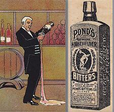 Ponds Bitters Kidney Cure Bottle Drunk Butler Wine Cellar Advertising Trade Card