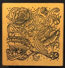 1998 Paper Parachute Jacobean Floral Squar - Wood Mounted  Rubber Stamp