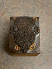 Vintage Letterpress Printers Block Wood And Metal Of A Crest Logo