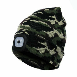 Rechargeable LED Beanie Winter Hat with USB High Powered Head Lamp Light Hats UK