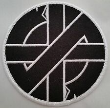 "Crass Logo 3"" embroidered patch with merrowed edge peace punk anarchy"