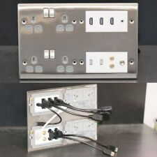 AV Wall / Face Plate, 4x mains power, HDMI, Audio Jack, USB, 2x Sat, TV sockets