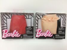Barbie Doll Fashions Lot Red Skirt & Peach White Striped Peplum Clothing Clothes