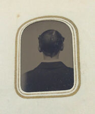 Antique Gem tintype photo album w unusual back of man's head identified images
