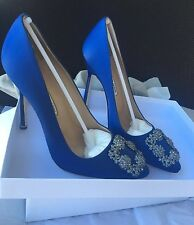 NIB Auth MANOLO BLAHNIK Hangisi 115mm Crystal-buckle Satin Pump Cobalt Blue 37.5