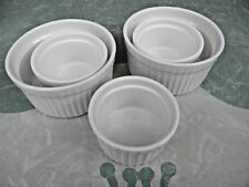 White Porcelain Baking Cup Individual Serving Custard Souffle Dish Lot of 5