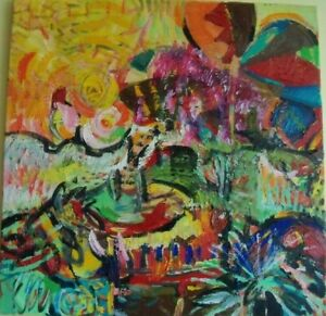 An original , oil painting '' The Birds of Paradise in a Park''