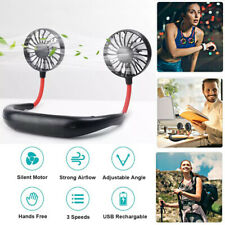 Portable USB Neckband Mini Fan Lazy Cooling Fan Black