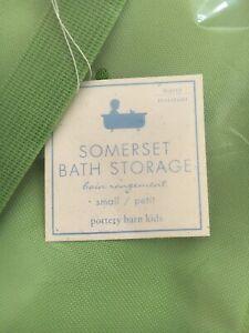 Pottery Barn Somerset Mesh Shower Caddy Green Mobile Bath Storage NIP
