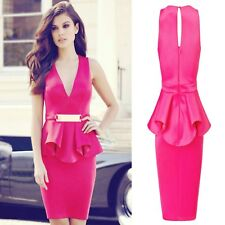 Sz M 10 12 Pink V-neck Peplum Ruffle Sleeveless Dance Party Cocktail Mini Dress