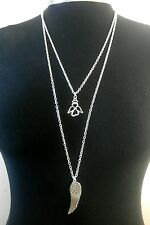 """Guardian Angel & Wing Charms Layered Necklace Minimalist Silver Tone 30"""" Chain"""