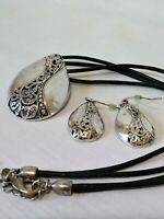 Vtg Signed PD Silver Tone Teardrop Filigree Style Pendant, Dangling Earrings Set
