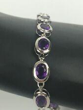 Sterling Silver Purple Amethyst Rhodium Tennis Bracelet Bezel Marked 8''