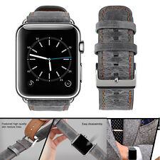 PASBUY 75B Genuine Leather Strap Band for Apple Watch Series 4 3 2 1 42/44mm Gra