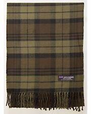 100% Cashmere Scarf Brown Check Tartan Graham Plaid SCOTLAND Wool Women R26