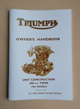 Triumph Owner's Handbook Bonneville Tiger 650 T120 TR6 1969 Manual Booklet UK