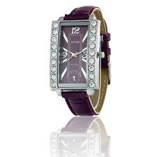 TAVOLINO Damen Armbanduhr mit Strass, Silber Violett Farben, Armband in Violett