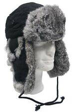 FELLMÜTZE mit grauem Kaninchen Fell S-XL Pelzmütze Pilotenmütze Mütze Tschapka