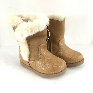 Cat & Jack Toddler Girls Katrina Boots Faux Fur Trim Faux Suede Sparkle Tan 7
