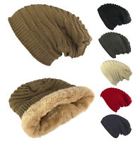 Women Men Winter Thick Baggy Slouchy Beanie Knit Oversized Hat Ski Cap Unisex #1