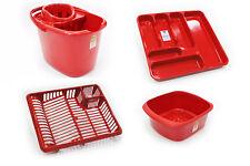 Set di 4 in plastica MOCIO Secchio DISH DRAINER Posate Vassoio Ciotola rettangolare rosso