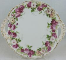 ANTIQUE LIMOGES VENICE CAKE PLATE,GOLD,PINK ROSE FLOWER GARLAND GREEN LEAVES