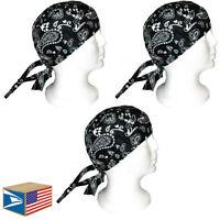 3 LOT SKULL CAP Black Paisley HEAD WRAP DU DO DOO RAG DURAG TIE BACK BIKER HAT!