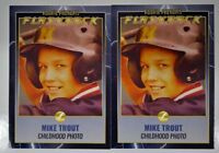 (2) -MIKE TROUT  Rookie Penoms Flash Back Gold Parallel Childhood Photo Cards.