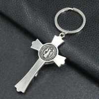 RELIGION METAL CRUCIFIX CHAIN JESUS CROSS KEY CHAIN RING KEYCHAIN NEW DECOR