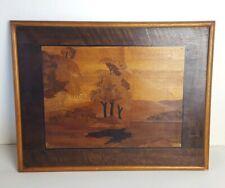 "Vintage Mid Century Wood Marquetry Art Landscape Picture 14"" x 18"""