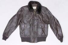 70s Vintage G-1 Military USN Navy Bomber Flight Aviation Leather Jacket 42