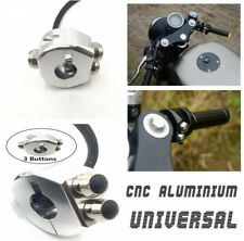 22-23mm Motorcycle Cafe Race Custom Simple Handle Grips Reset 3 Buttons Switch