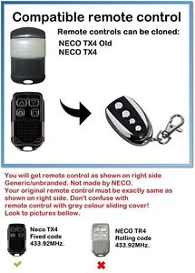 Universal Remote Control Duplicator for NECO TX4, NECO TX4 old 433.92MHz.