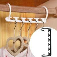 5hole Space Saving Hanger Clothes Rack With Hook Orga Closet Wardrobe M9S2