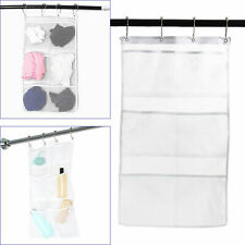 6-Pocket Shower Organizer Bathroom Caddy Tub Hanging Mesh Storage Bag 4 Hooks