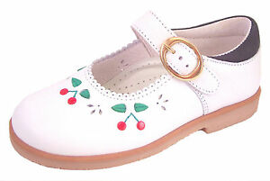 DE OSU/FARO - Toddler Girls White Leather Red Cherry Shoes - European Size 6-10