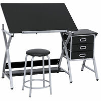 BCP Adjustable Drafting Table Set W/ Stool Chair