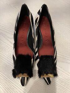 Authentic Burberry Perryvale Mink & Ponyhair Black Zebra Heels Size 40 Brand New