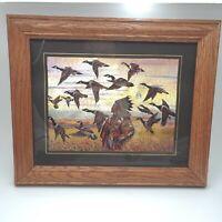 Beautiful Vintage Native American & Mallards Foil Art Picture