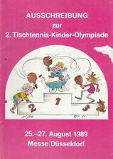 Programmheft Ausschreibung 2. Tischtennis-Kinder-Olympiade Düsseldorf 1989