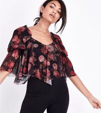 New Look - Black Floral Mesh Shirred Sleeve Hanky Hem Crop Top - Size 12 - BNWT