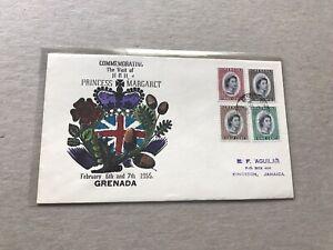 Grenada 1955 FDC? +QEII Royal Visit #SG192-5+Multi-Color Cachet +Gorgeous Cachet